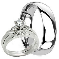 his hers new mens titanium 6mm band and 2 pc womens engagement wedding ring set - Wedding Ring Sets His And Hers Cheap