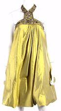 MONIQUE LHUILLIER Mustard Silk Brass Beaded Halter Bubble-Hem Dress 10