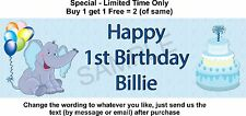 Any or 1st Birthday Baby Boy Party Paper Sign, Blue Elephant Theme Personalised