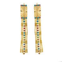 Fashion rectangle yellow gold filled crystal Long tassel womens dangle earrings