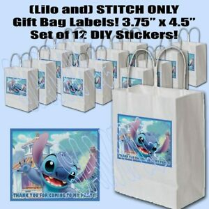 """(Lilo and) STITCH ONLY Stickers Favors Gift  Bag Labels 3.75"""" x 4.75""""  -12 pcs"""