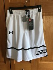 Youth Under Armour Loose Fit White And Black Shorts Size Large New With Tags