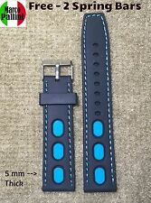 22mm MP Scuba Diver Silicone Black Ocean Blue Dots Stitches Strap Fit Seiko