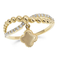 Cocktail Clover Dangle Right Hand Ring Wide 14K Yellow Gold Pave Round Diamond