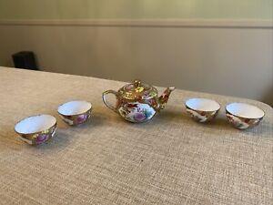 Vintage Chinese Handpainted Porcelain Dollhouse Miniature 5 Pcs Tea Set Unsigned