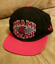 Miami Heat Script NBA Cap Flat Brim adidas Snapback Black Red Hat NBA One Size