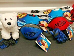 Nerf Trackshot Tuff Tug Football Rope Dog Toy Interactive Exercise Fun Dog Play
