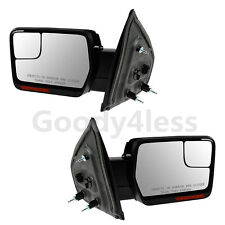 Chrome For 07-14 F150 Mirrors Power Heated Turn Signals Puddle Lights Dual Glass