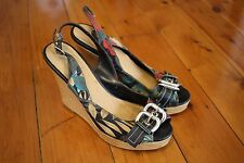 Zoom: Womens Black Floral Print Wedges with Buckle, Size 37 (6)