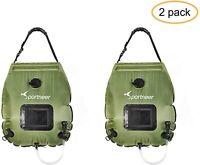 2PCS Sportneer Solar Shower Bag 20L On-Off Switchable Shower Head With Hose
