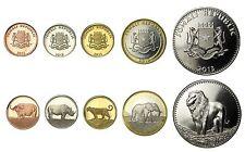 Somali (Somalia) 5 Pieces Coin Set, 5 to 100 Shillings, 2013, Mint,Big 5 Animals