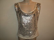 Alice + Olivia Large L Top Shirt Sleeveless Evening White w/ Silver Sequin Front