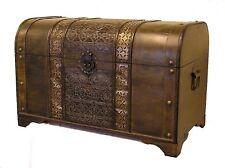 Brown Old Fashioned Medium Wood Storage Trunk Wooden Chest
