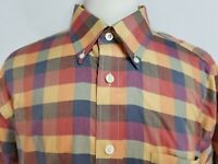 Orvis Mens sz XL Red Blue Purple Striped Check Long Sleeve Botton Front Shirt