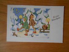 AK Weihnachten, NORA STECHMANN, KINDER bringen Geschenke mit dem Schlitten
