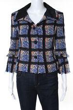 Chanel Blue Multi Color Plaid Boucle Satin Kontrast Damenblazer Größe 42 09P