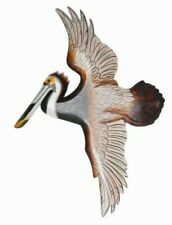 New ListingHand Carved Wood Color Flying Pelican Hang Wall Plaque Art Tropical Bird Picture