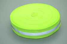 Reflective Lime Green Gray Tape Sew On 25Mm Trim Fabric Material,50Meters/lot