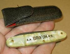 Couteau de poche publicité Solingen A.A. Marron kg avec étui Pocketknife 1960er t67