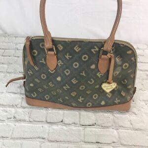 Dooney & Bourke Womens Satchel Handbag Brown Black Logo Dual Handle Zipper M