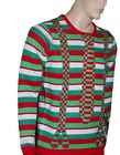 Mens NERD 3D Tie Suspenders Funny Adult Ugly Christmas Sweater Party Medium NEW