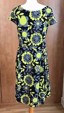 Lovely 100% Cotton Summer Dress Black/Lemon Yellow  Floral – Size 20