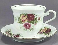 Crystal Clear Poland English Rose Coffee Tea Cup and Saucer
