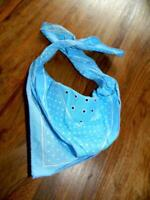 Vintage Pale Blue Polka Dot Bandana cotton cravat ditsy scarf necker (32)