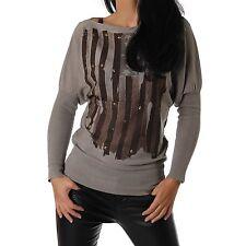 Damen Pullover Pulli  Feinstrick Fledermausärmel USA Print Nieten grün Neu 34-38