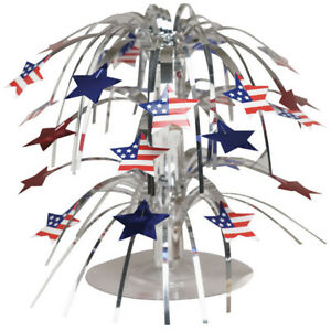 Red White and Blue Patriotic Stars Flags Mini Cascade Centerpiece