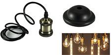 Portalampada vintage stile retrò sospensione pendente colore bronzo lampada E27