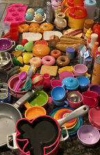 Over 100 Pieces Pretend Play Food, Pots,Pans, Cups, Plates, Forks, Spoons Etc.