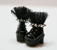 Custom SHOES Boots For Blythe/Pullip/Lalaloopsy/Hujoo/Obitsu/Dal - B3_381, BK