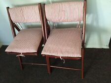 2 World Market Foldable Wooden Patio Chairs W/Pottery Barn CusHion On/ Outdoor