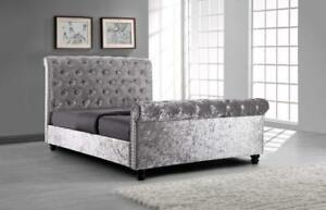 Sleigh Style Crushed Velvet Top Quality Bed Frame in Black, Silver, Cream, Grey