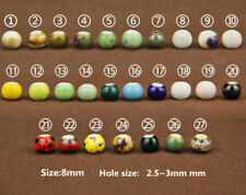10Pcs Charm Round Ceramic Porcelain Loose Spacer Big Hole Beads Jewelry Making