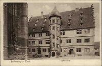 Rothenburg ob der Tauber alte Ansichtskarte ~1930 Straßenpartie am Gymnasium
