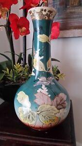 "19th Century Japanese Satsuma Pottery Vase 12.75"" tall Unmarked"