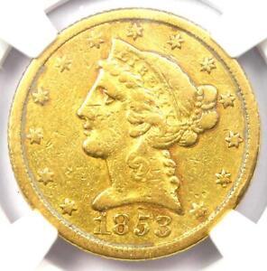 1853-C Liberty Gold Half Eagle $5 - NGC VF Details - Rare Charlotte Gold Coin!