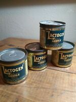4 VINTAGE LACTOGEN TINS BY NESTLE CANNED COWS MILK DRIED POWDER EMPTY NEAT TINS