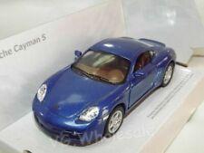 "Porsche Cayman S Blue Die Cast Metal Model Car 5""  New In Box"