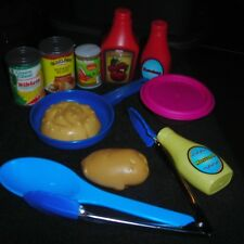 LOT OF CHILDRENS PLAY GROCERIES, FOOD AND KITCHEN UTENSILS