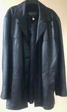 Dakota Mens Vintage Real Leather Black  Classic Mid Length Coat