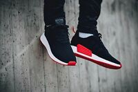 NEW AUTHENTIC ADIDAS NMD_R2 Primeknit Shoes - Black/Red; BA7252