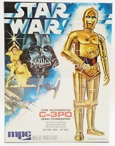 """Star Wars The Authentic C-3PO Scale Model Kit 10"""" Tall 1977 MPC Factory Sealed"""