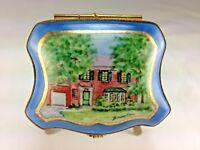 Vintage One of Kind Limoges Hand Painted House Scene Artist Signed Trinket Box