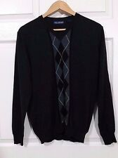 JOHN ASHFORD V-NECK Argyle SWEATER  Italian Merino Wool Dark Gray Size L