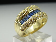 Sapphire Diamond Ring 18K Wide Band Anniversary Wave Curved Baguette Jewelry