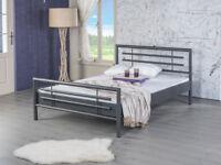 Bettgestell Doppelbett Metallbett Bettrahmen LOLA 140x200 grau NEU