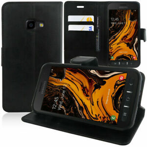 SLIM BLACK Samsung Galaxy Xcover 4S Leather Flip Case Cover  For Mobile Phone